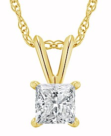 Certified Princess Cut Diamond Solitaire Pendant Necklace (1 ct. t.w.) in 14k White Gold or Yellow Gold