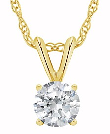Certified Round Diamond Solitaire Pendant Necklace (1 ct. t.w.) in 14k White Gold or Yellow Gold