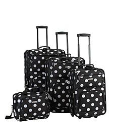 4PCE Black Dots Softside Luggage Set