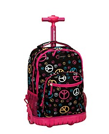 """Peace Signs 19"""" Rolling Backpack"""