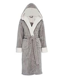 Hooded Sherpa Fleece Robe, Large