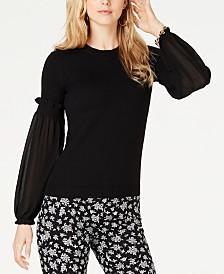 MICHAEL Michael Kors Sheer-Sleeve Sweater