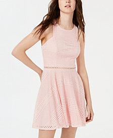City Studios Juniors' Lace-Striped Fit & Flare Dress