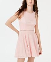 9e58606c8eb52 City Studios Juniors  Lace-Striped Fit   Flare Dress