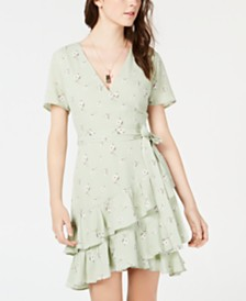 Emerald Sundae Juniors' Printed Wrap Ruffle Dress
