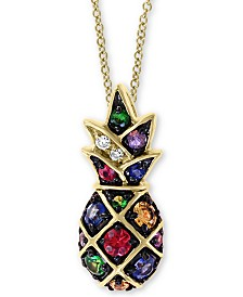 "EFFY Multi-Sapphire (1/3 ct. t.w.) and Diamond (1/10 ct. t.w.) Pineapple 18"" Pendant in 14k Gold"