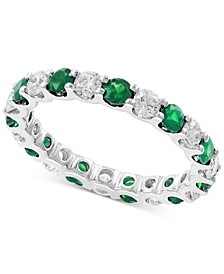 EFFY® Emerald (1 1/4 ct.t.w.) and Diamond (1 ct.t.w.) Band in 14K White Gold