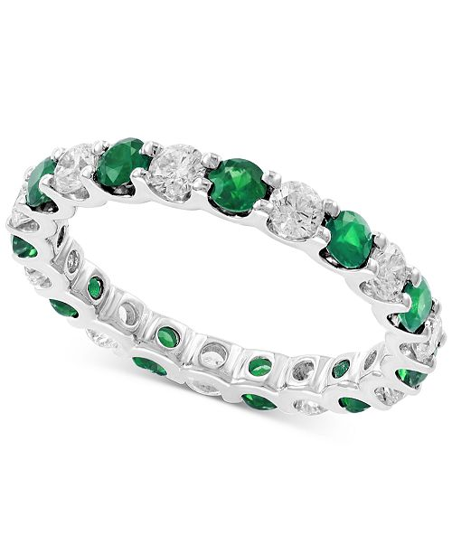 EFFY Collection EFFY® Emerald (1 1/4 ct.t.w.) and Diamond (1 ct.t.w.) Band in 14K White Gold