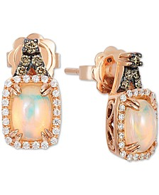Neopolitan Opal (3/4 ct. t.w.), Vanilla & Chocolate Diamond (1/4 ct. t.w.) Stud Earrings in 14k Rose Gold