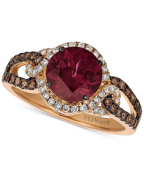 Le Vian Raspberry Rhodolite (1-5/8 ct. t.w.), Chocolate Diamond (1/4 ct. t.w.) and Vanilla Diamond (1/5 ct. t.w.) Statement Ring in 14k Rose Gold