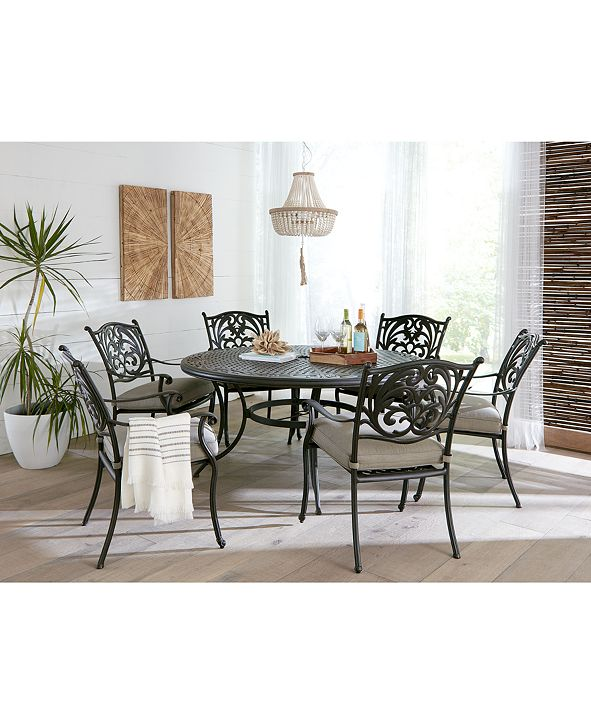 "Furniture Chateau Outdoor Aluminum 7-Pc. Set (60"" Round Dining Table & 6 Dining Chairs) with Sunbrella® Cushions, Created for Macy's"