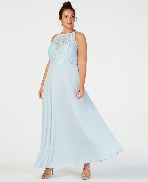 Speechless Trendy Plus Size Glitter Lace & Solid Gown