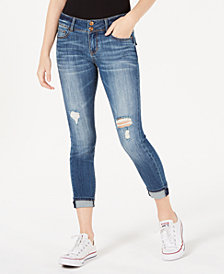 Vanilla Star Juniors' Flap-Pocket Cuffed Skinny Jeans