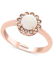 EFFY® Opal (1/2 ct. t.w.) & Diamond Accent Ring in 14k Rose Gold