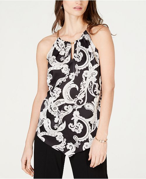 INC International Concepts INC Printed Hanky-Hem Halter Top, Created for Macy's