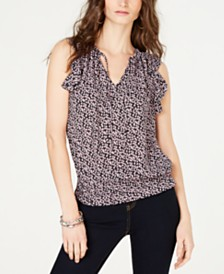 I.N.C. Petite Smocked-Hem Tie-Front Sleeveless Top, Created for Macy's