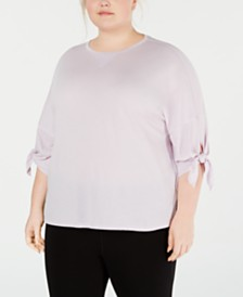 Calvin Klein Performance Plus Size Tie-Sleeve High-Low Hem Top