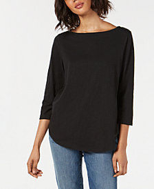 Eileen Fisher Organic Cotton Boat-Neck Top, Regular & Petite