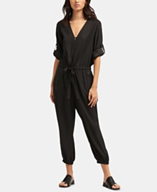 DKNY Roll-Tab Zip-Front Jumpsuit