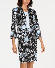 Kasper Floral-Print Jacket, Cross-Neck Shell & Floral-Print Skirt