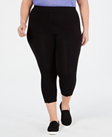 Style & Co Plus Size Lace-Hem Cropped Leggings, Created for Macy's