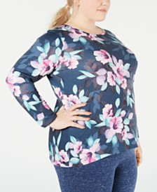 Ideology Plus Size Printed Keyhole-Back Top, Created for Macy's