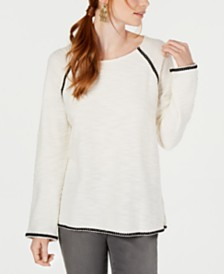 Style & Co Braided-Trim Scoop-Neck Top, Created for Macy's