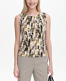 Calvin Klein Petite Printed Pleat-Neck Blouse