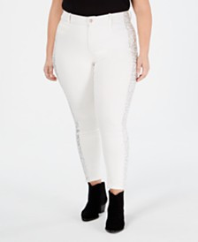 YSJ Plus Size Animal-Print-Trim Skinny Ankle Jeans