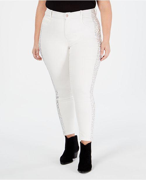 YSJ Plus Size Animal-Print-Trim Skinny Ankle Jeans