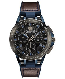 Men's Chronograph Sport Tech Blue Rubber & Brown Leather Strap Watch 45mm