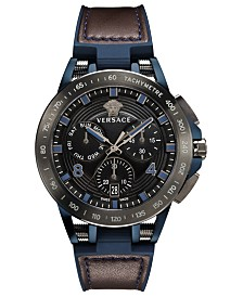 Versace Men's Chronograph Sport Tech Blue Rubber & Brown Leather Strap Watch 45mm