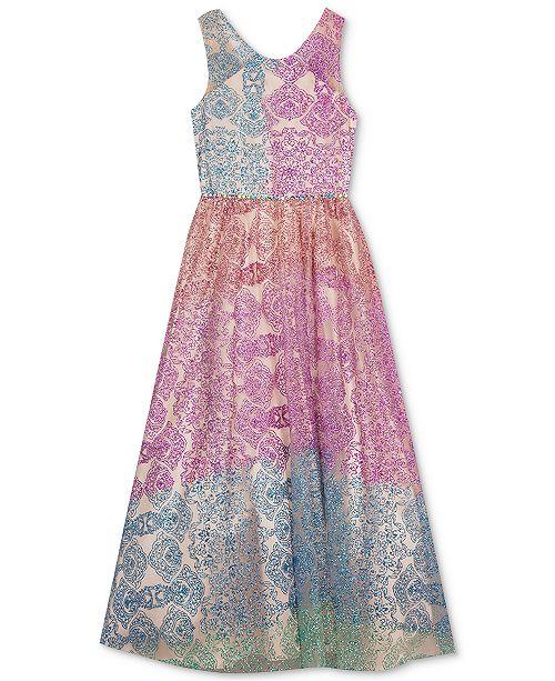 Rare Editions Big Girls Rainbow Glitter Dress