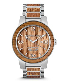 Mens Reclaimed Craft Beer Barrel Wood, The Brewmaster, Stainless Steel 47mm Watch