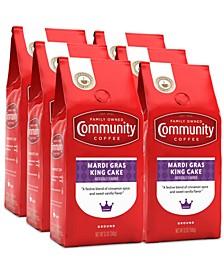 Mardi Gras King Cake Medium Roast Premium Ground Coffee, 12 Oz - 6 Pack