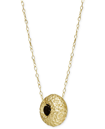 Diamond cut bead pendant necklace in 14k gold necklaces jewelry diamond cut bead pendant necklace in 14k gold aloadofball Images