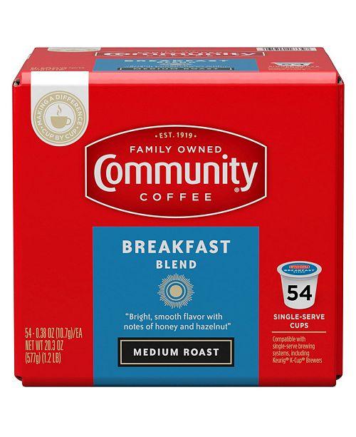 Community Coffee Breakfast Blend Medium Roast Single Serve Pods, Keurig K-Cup Brewer Compatible, 54 Ct