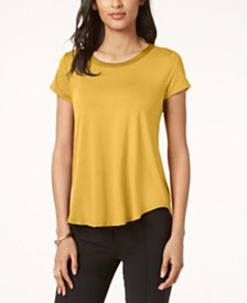 Alfani Satin-Trim High-Low T-Shirt, Created for Macy's