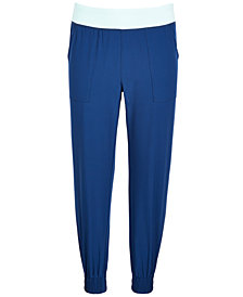 Ideology Big Girls Contrast-Waist Jogger Pants, Created for Macy's