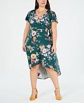 dc30001dba9 BCX Trendy Plus Size Printed High-Low Wrap Dress
