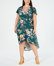 fb1f9a8bc82 BCX Trendy Plus Size Printed High-Low Wrap Dress