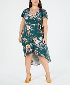 ba5e1a01ed6ea BCX Trendy Plus Size Printed High-Low Wrap Dress