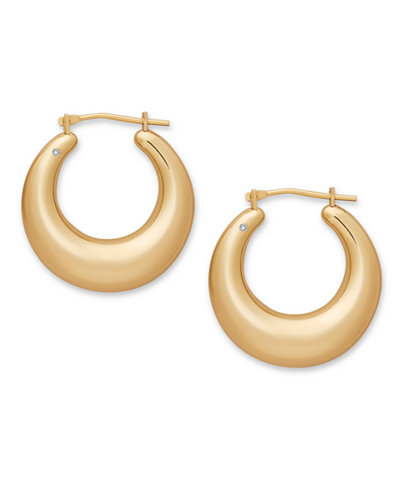 Signature Gold™ Diamond Accent Graduated Round Hoop Earrings in 14k Gold over Resin