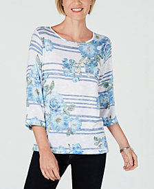 Alfred Dunner Petite Greenwich Hills Striped Floral-Print Top
