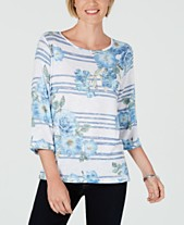 4f974309b86c7 Alfred Dunner Greenwich Hills Striped Floral-Print Top