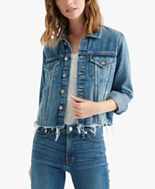 Lucky Brand Frayed-Hem Denim Jacket