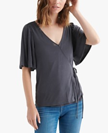 Lucky Brand Solid Sand Wash Wrap Top