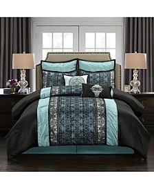 Arabesque 8-Piece Comforter Set, Black/Blue, California King