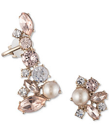 Marchesa Gold-Tone Crystal & Imitation Pearl Mismatch Earrings