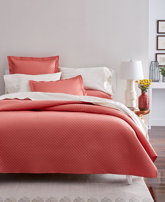 Charter Club - Damask Cotton 210-Thread Count Quilted King Coverlet